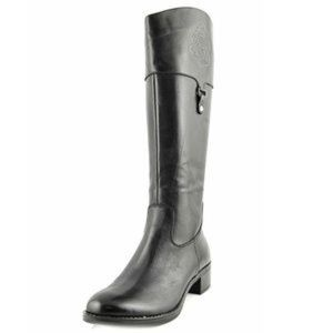Clarity mid-calf black leather riding boot L width